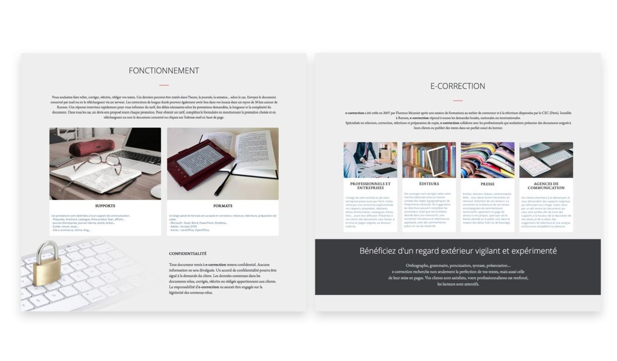 pages site internet e-correction
