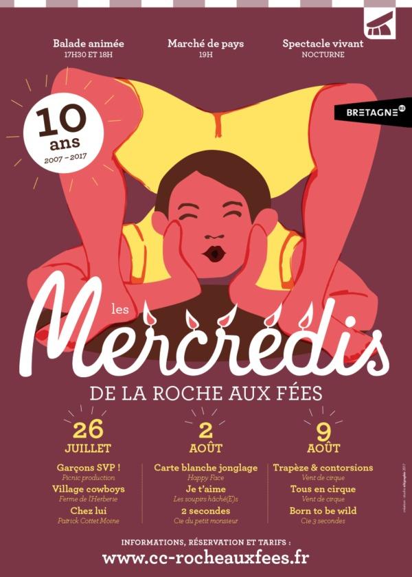 Affiche des Mercredis de la roche aux Fées 2017 - Bretagne