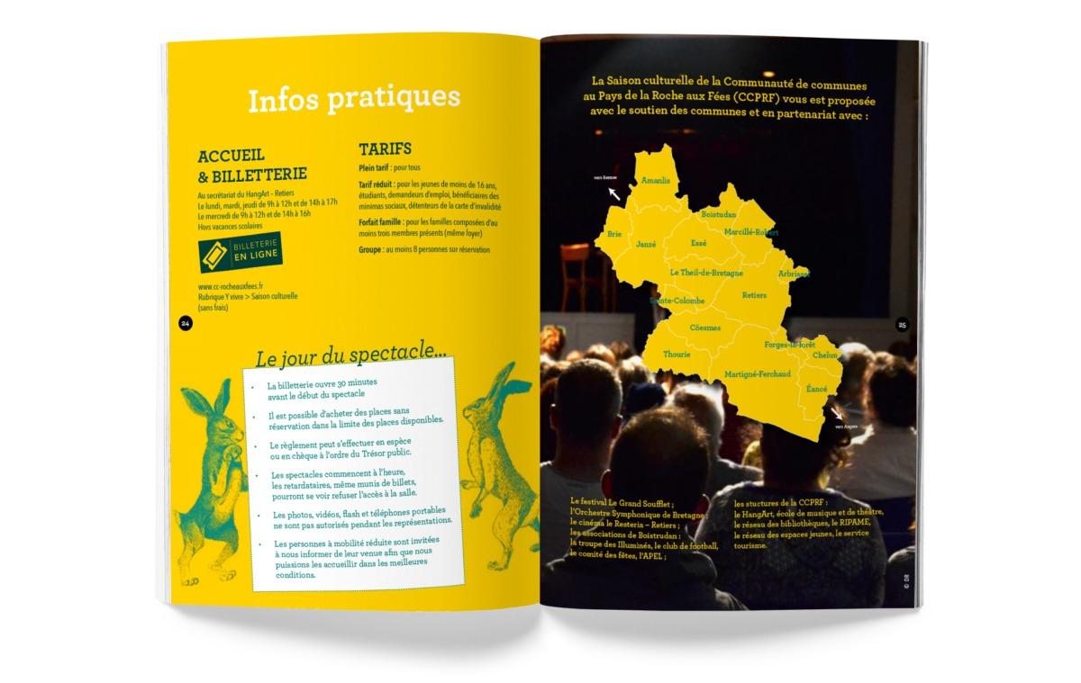 douple page brochure programme saison culturelle au pays de la roche aux fées