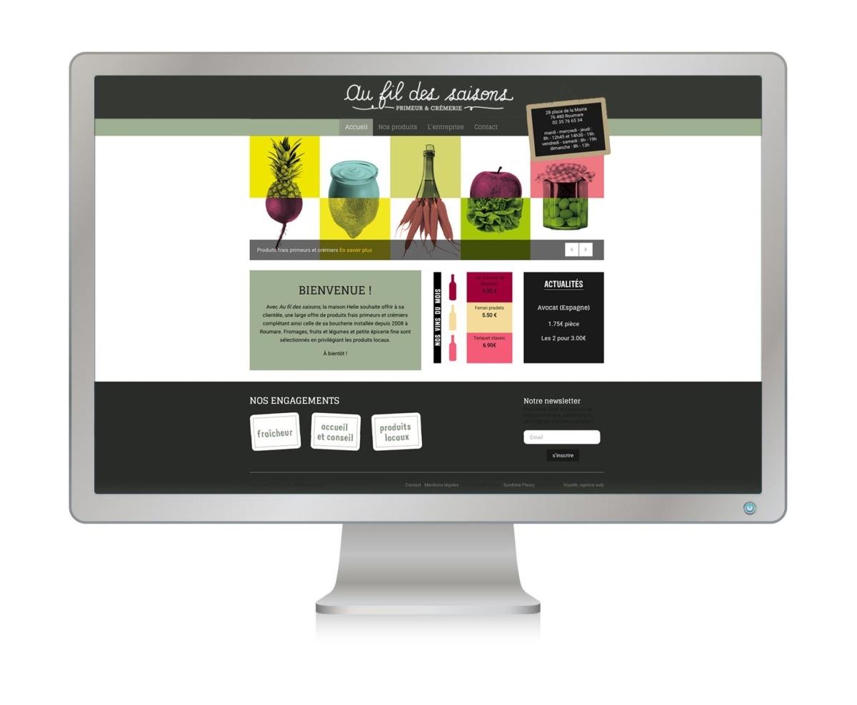 Site internet primeurs fromager épicerie fine - Normandie - au fil des saisons